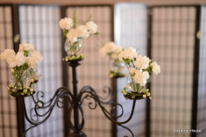 Wrought Iron Picnic Wedding Candelabra centerpieces with Mini Carnations