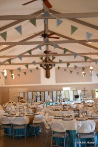 Teal and Celedon Bunting at a rustic picnic burlap wedding