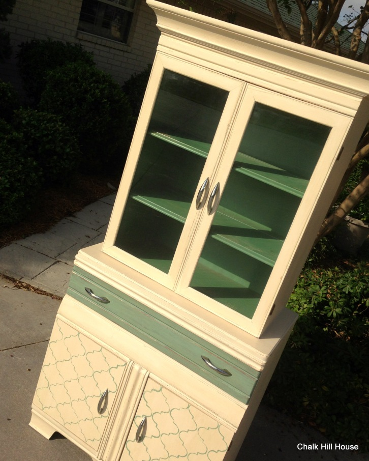art deco chalk painted hutch