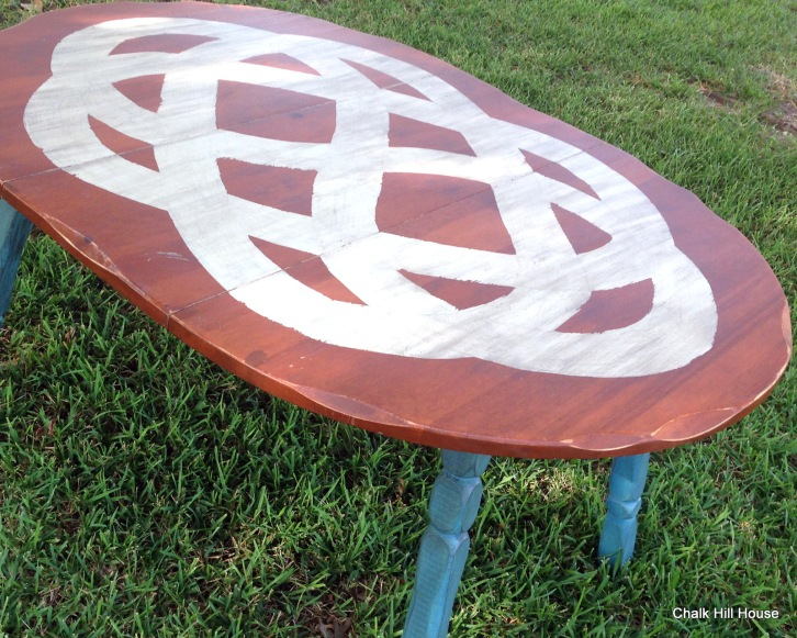 Celtic Knot Design Chalk Painted Extension Table
