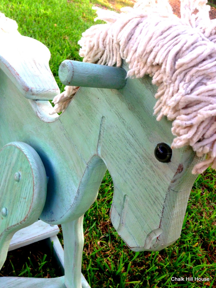 chalk painted aqua vintage wooden rocking horse toy