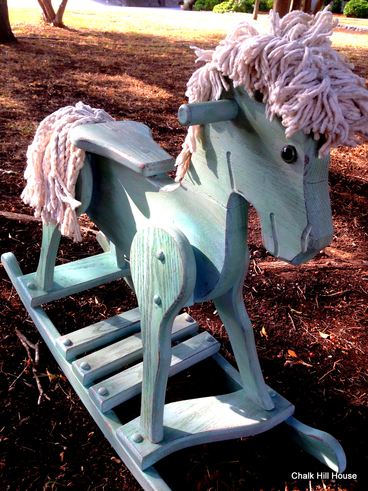 Old Blue A Vintage Chalk Painted Wooden Rocking Horse Chalk Hill House
