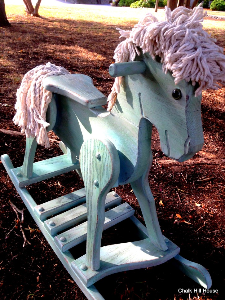 chalk painted vintage wooden rocking horse
