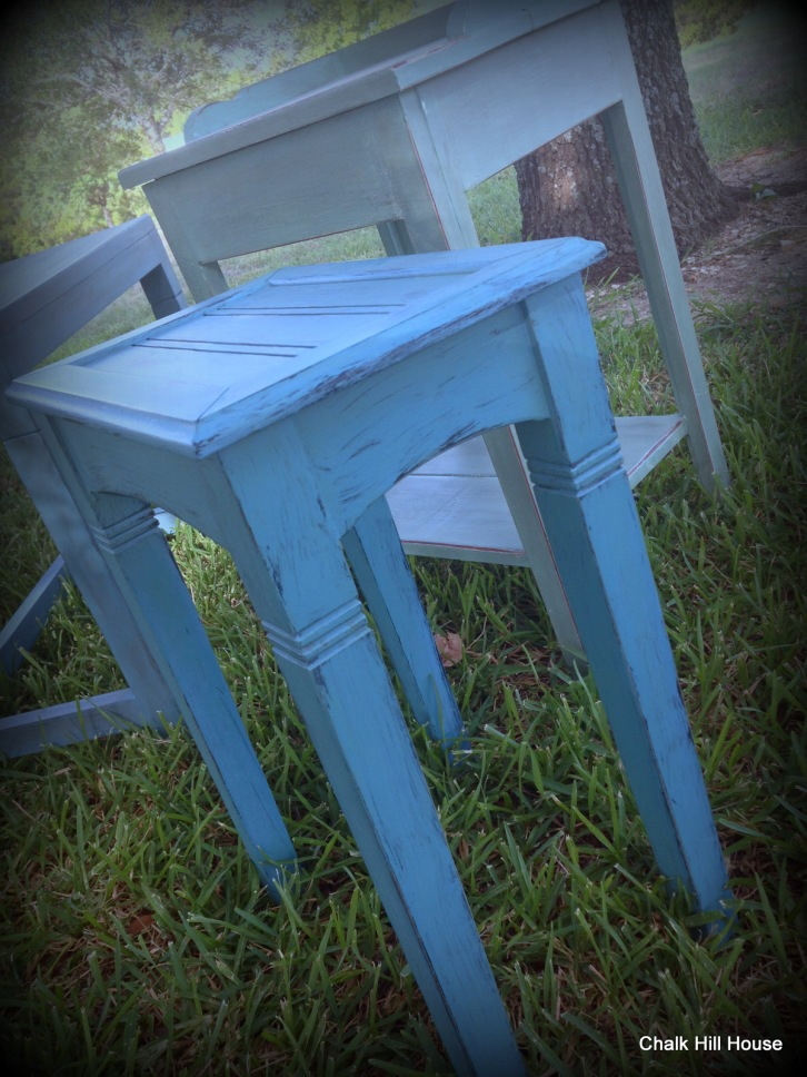 Peacock Blue Chalk Painted End Table