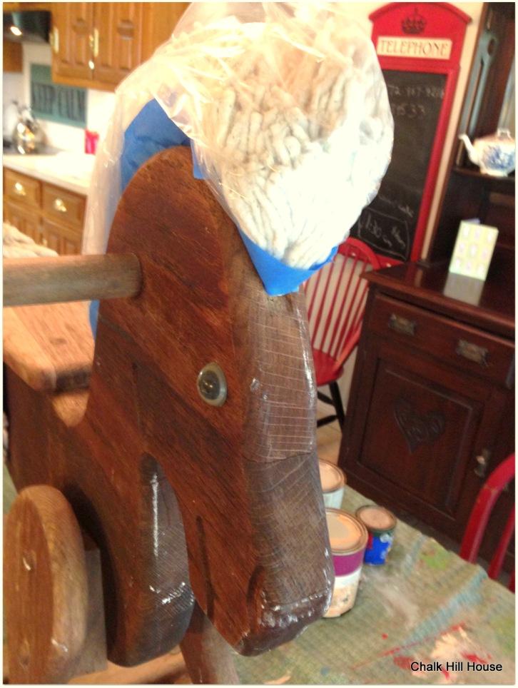 vintage wooden rocking horse rag hair
