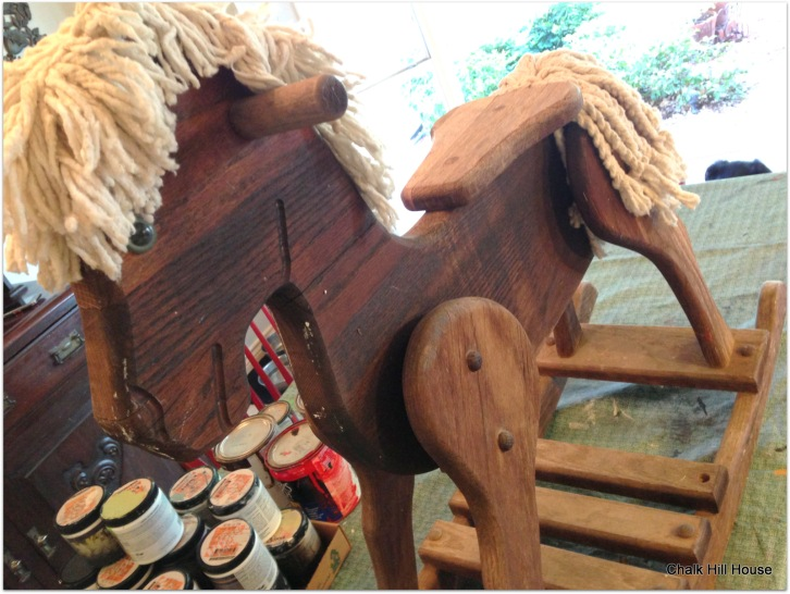 vintage wooden rocking horse ready for chalk paint