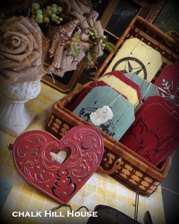 Chalk Hill House barnwood sign, burlap roses, burlap flowers, craft fair