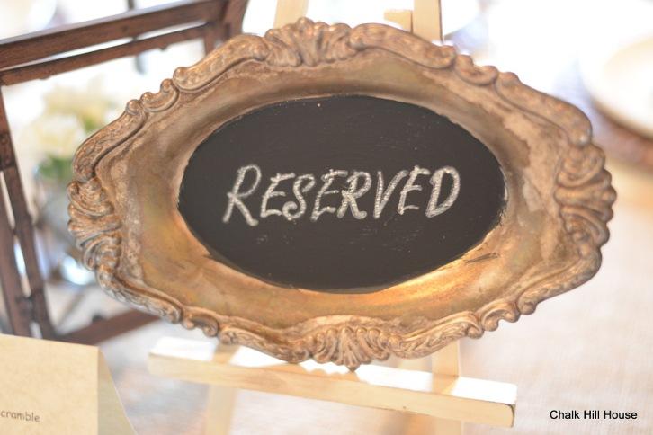 chalk hill house chalkboard art silver serving tray wedding sign