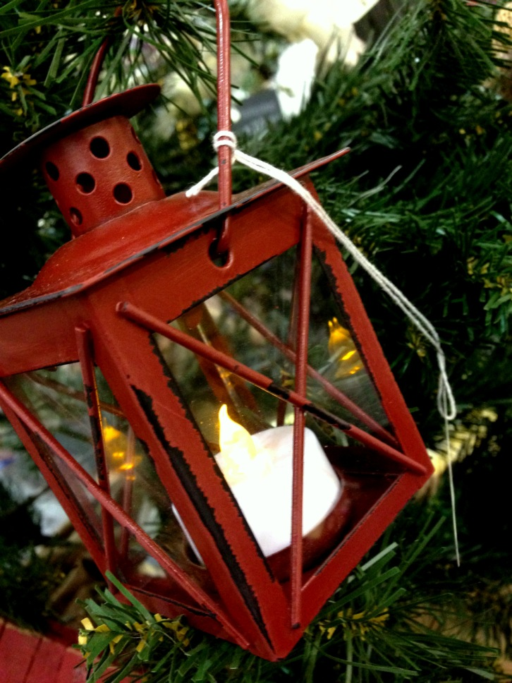 chalk hill house christmas red lantern candle tree decoration ornament rustic distressed