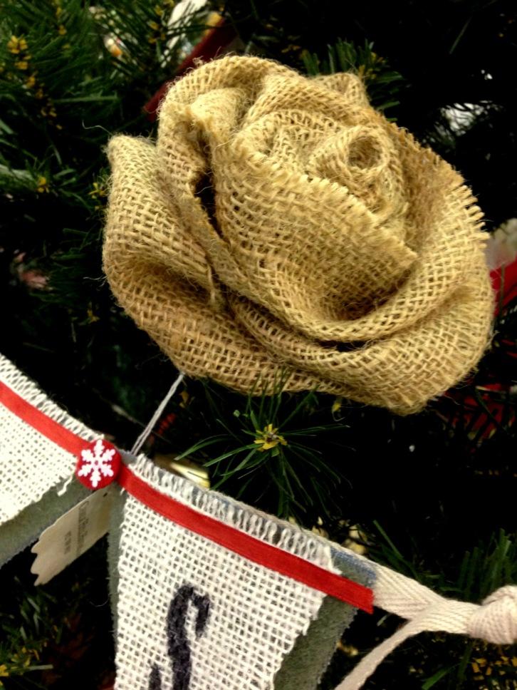 chalkhillhouse burlap rustic rose christmas tree ornament decoration