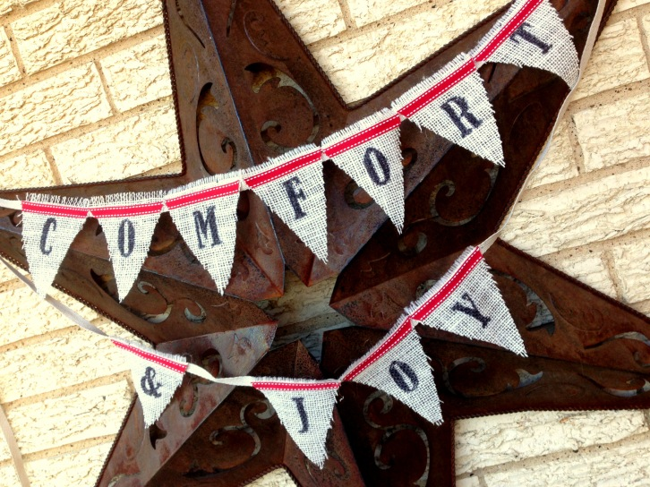 chalkhillhouse comfort and joy christmas burlap bunting pennant banner mini