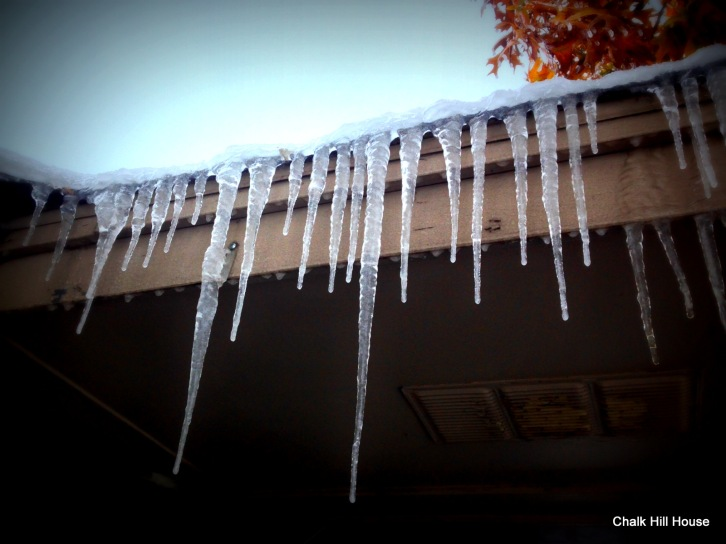 chalk hill house icicles on roof ice storm