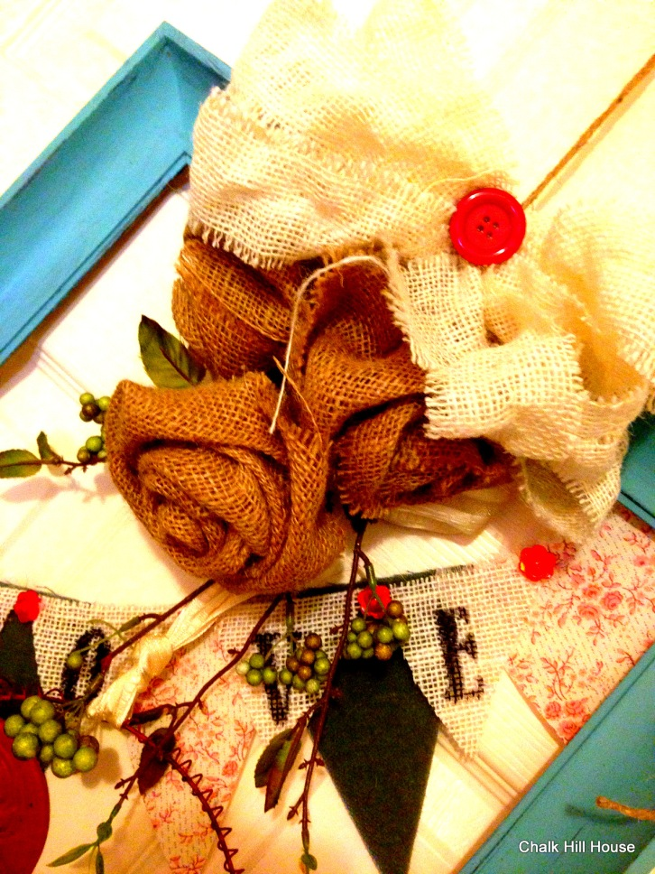 burlap roses and burlap love bunting on rectangle frame valentines wreath from chalk hill house
