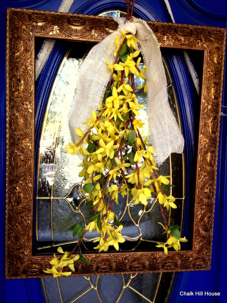 rectangle frame door wreath with burlap ribbon and yellow spring flowers chalk hill house