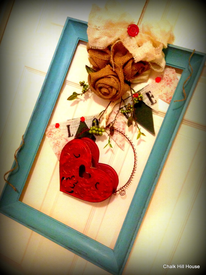 turquoise frame wreath with tin heart basket and burlap from chalk hill house