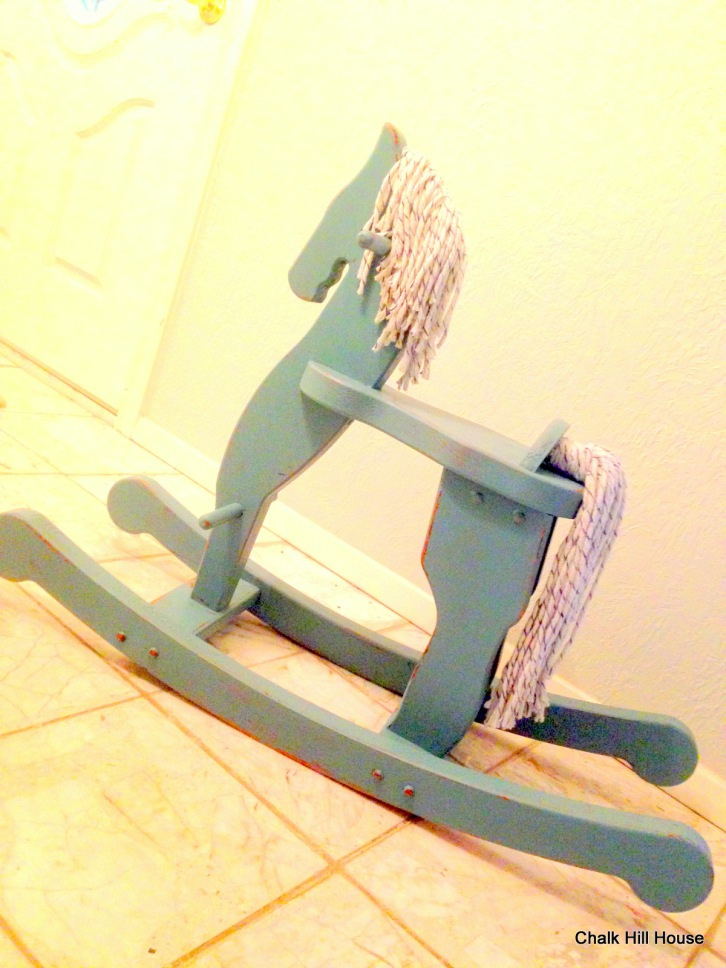 vintage toy rocking horse chalk paint rag mop maine chalk hill house