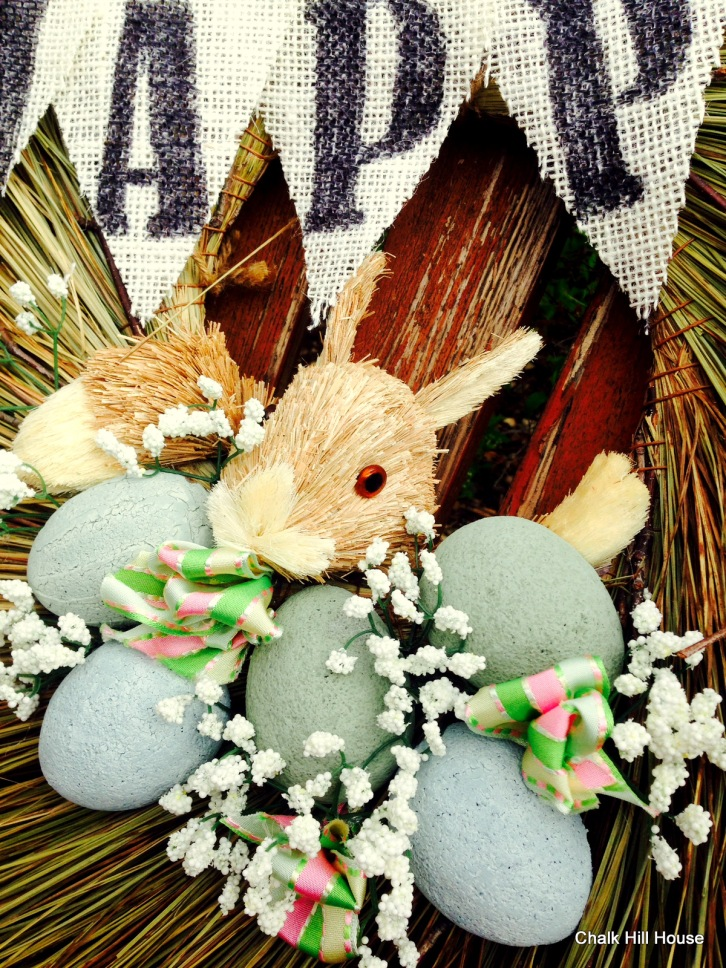 Easter Bunny burlap bunting banner easter eggs wreath chalk hill house