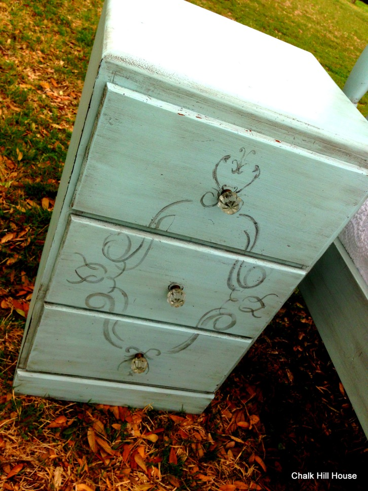 french provencial furniture nightstand with antique glass knobs robins egg blue chalk paint chalk hill house