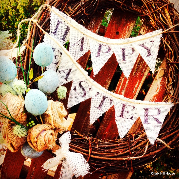 Happy Easter burlap bunting and burlap roses with easter eggs chalk hill house