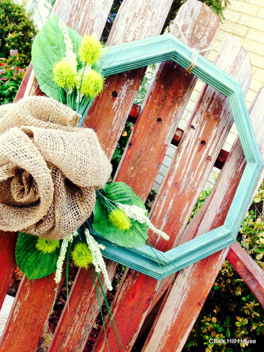 picture frame wreath burlap rose yellow and turquoise chalk hill house