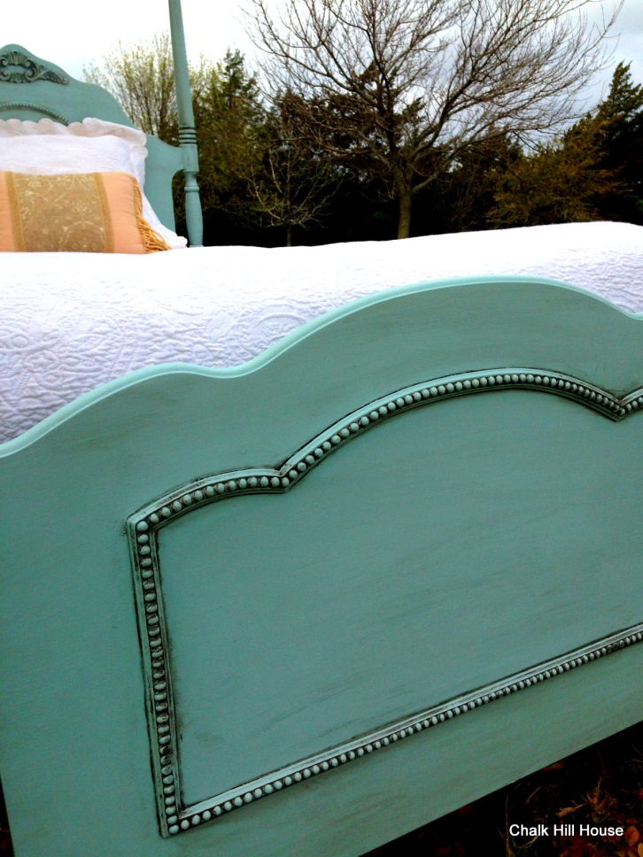 robins egg blue footboard chalk paint distressed french provincial chalk hill house