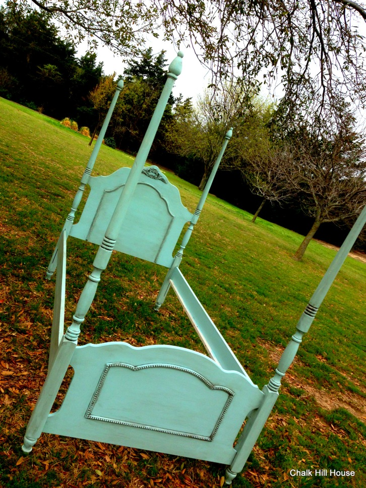 robins egg blue twin four poster bed french provincial chalk hill house
