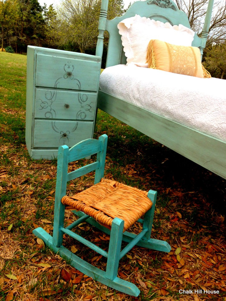 small childs rocking chair in turqoise chalk paint with robins egg blue bedroom furniture french provincial chalk hill house