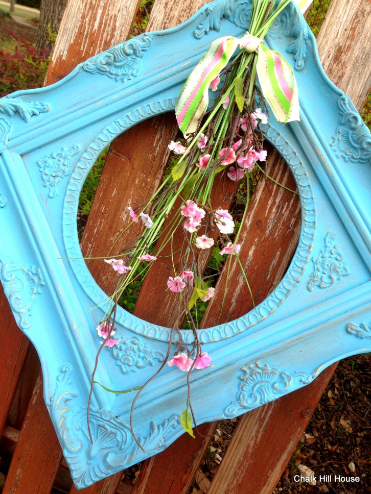 spring frame wreath turquoise with pink flowers chalk hill house