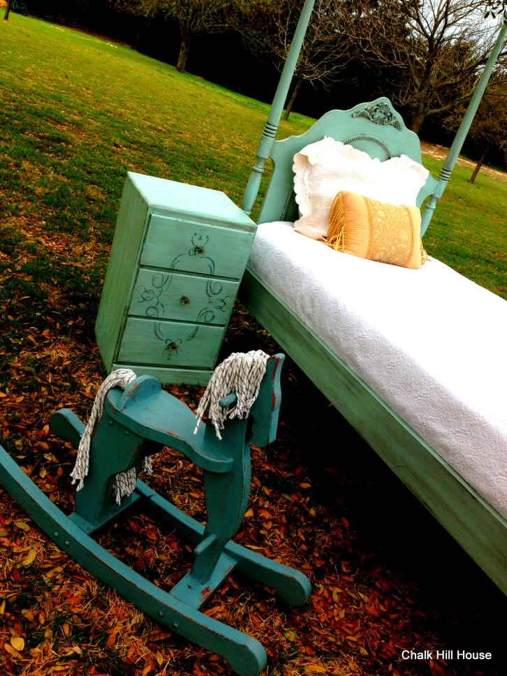 turquoise children's furniture rocking horse nightstand twin bed chalk paint chalk hill house