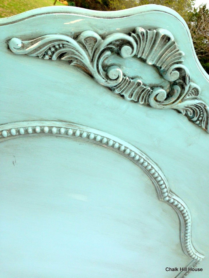 turquoise headboard chalk paint with glaze chalk hill house